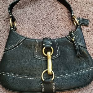 Coach Handbag, Black with Gold Hardware